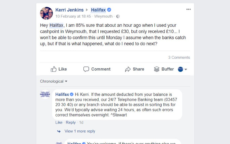 FACEBOOK INDIVIDUAL REPLIES TO COMMENTS